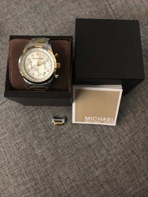 seltene Herren Michael Kors Uhr MK8144 Silber Gold XL