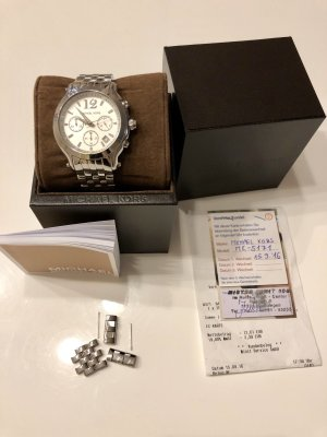 Michael Kors Watch With Metal Strap white-silver-colored stainless steel