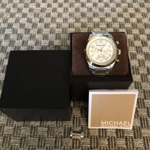seltene Michael Kors Uhr MK8144 Silber Gold XL Chronograph unisex