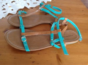 Strapped High-Heeled Sandals turquoise-brown