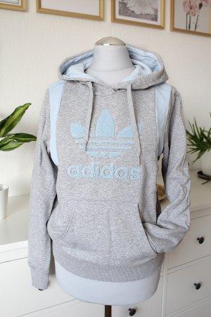 Adidas Originals Maglione con cappuccio grigio chiaro-celeste Cotone