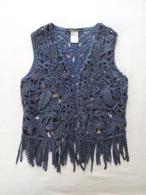 Sem per lei Fringed Vest blue cotton