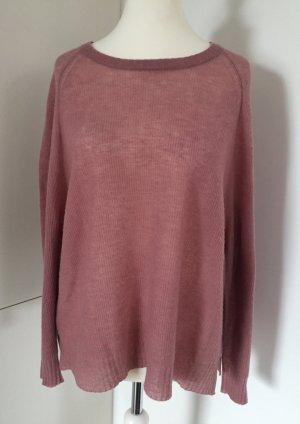 Semi-transparenter, ganz feiner & leichter Pullover in Rosé von 81hours, Gr. XL