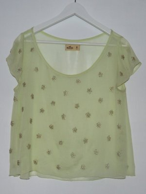 semitransparente Bluse/Tshirt - glitzer Applikation - pastell - M