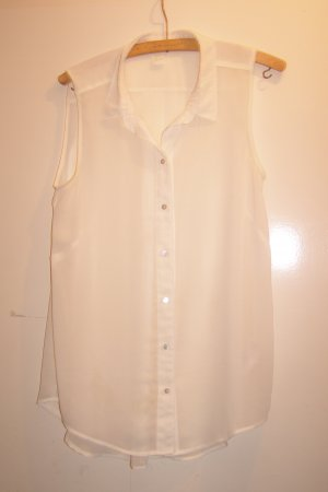 semitransparente weiße Bluse ärmellos