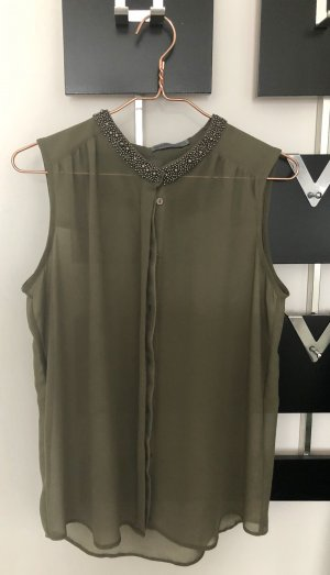 Semitransparentes, Khaki färbendes Blusentop Größe M *Topzustand*