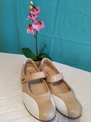 Semler Zapatillas con velcro blanco-marrón claro