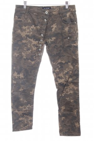 SEMPRE Röhrenjeans khaki-beige Camouflagemuster Casual-Look