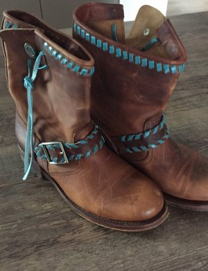 Sendra Western Booties brown-turquoise leather