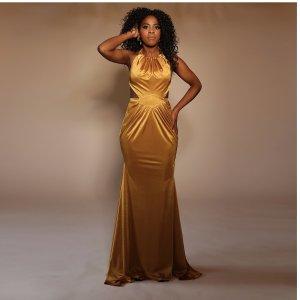 Senf Goldes Abendkleid mit Rücken dekolte