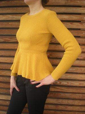 senffarbener Pullover Schößchen H&M