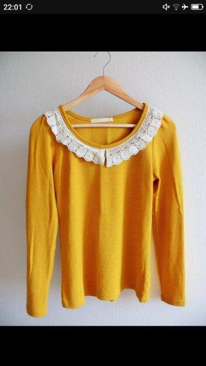 Osley Kanten blouse goud Oranje