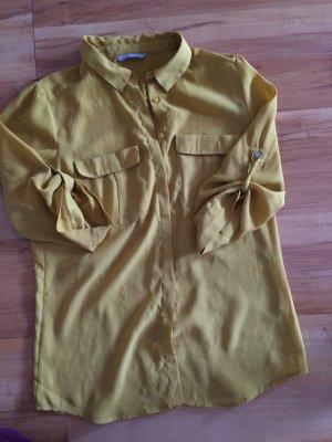 Senfgelbe Bluse mit Brusttaschen