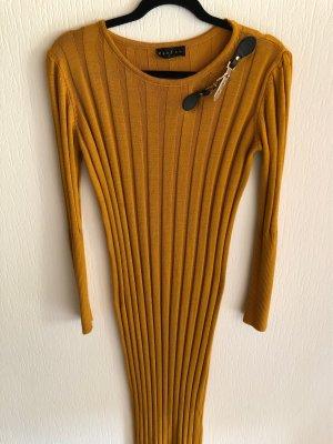 Senfgelbes langes Strickkleid M/L Knitwear