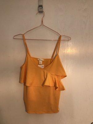 H&M Spaghettibandtopje goud Oranje