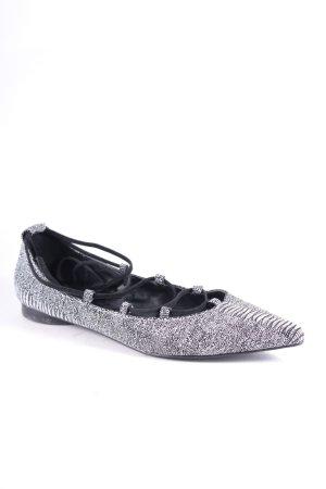 Senso Ballerinas mit Spitze schwarz-weiß abstraktes Muster Street-Fashion-Look