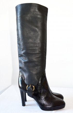Sergi Rossi Schlupfstiefel Nwtg. schwarz Stiefel Leder Lack 37,5