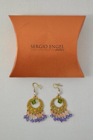 SERGIO ENGEL Ohrringe Ohrhänger 925er Silber Vergoldet Zesiliert Steine