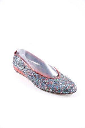 Sergio Rossi Ballerinas mit Spitze mehrfarbig Glitzer-Optik
