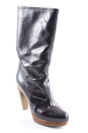 Sergio Rossi High Heel Stiefel schwarz-hellbraun Elegant