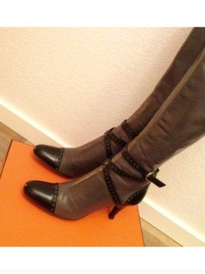 Sergio Rossi Original,Größe 40, Budapester Stiefel, Grau/Schwarz