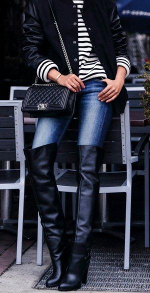 Sergio Rossi Kniehoge laarzen zwart-donkerblauw