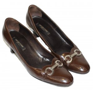 Sergio Rossi Patent Leather Ballerinas brown leather