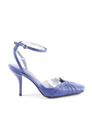 Sergio Rossi Riemchenpumps blau-neonblau Animalmuster Elegant