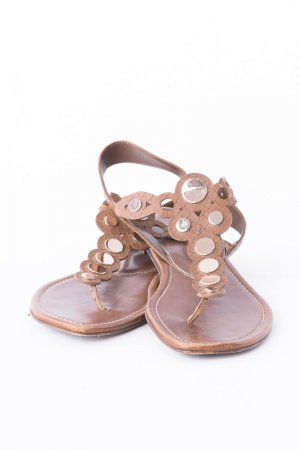 Sergio Rossi Strapped Sandals brown-silver-colored leather