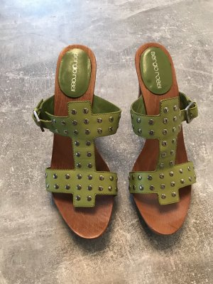 Sergio Rossi Strapped High-Heeled Sandals lime-green-light brown