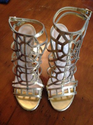 Sergio Rossi High Heel Sandal gold-colored-sand brown leather
