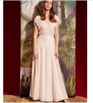 Sessun Vestido de novia beige claro-blanco
