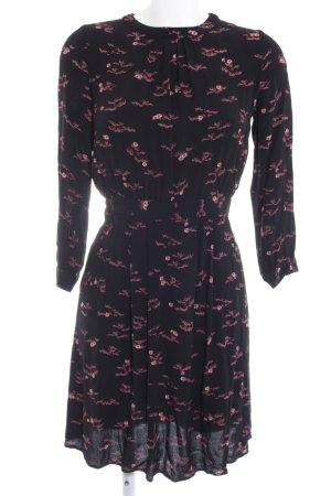Sessun Jerseykleid schwarz-rosa florales Muster Casual-Look