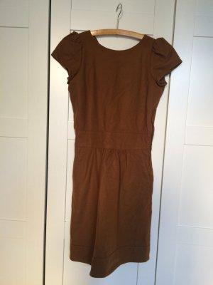 Sessun Vestido ceñido de tubo marrón-coñac tejido mezclado