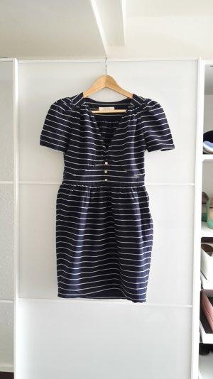 Sessun Kleid Sommerkleid blau weiß navyblau gestreift Streifen S 36 Marinelook