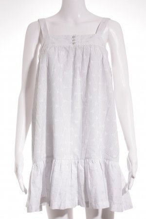Sessun Mini vestido blanco-gris pizarra estampado a rayas look casual