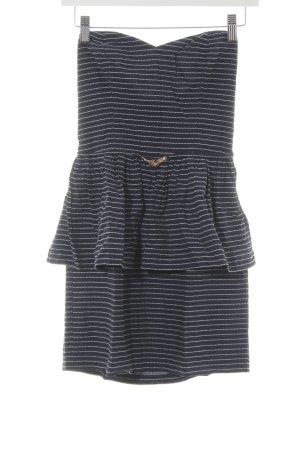 Sessun Schößchenkleid weiß-dunkelblau Streifenmuster Elegant