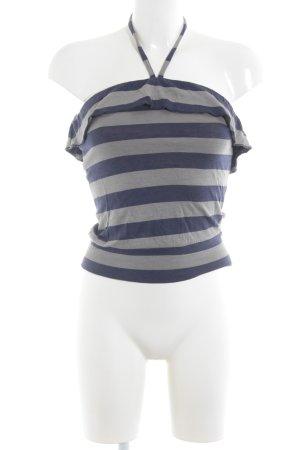 Sessun Top sin hombros azul oscuro-gris estampado a rayas look casual