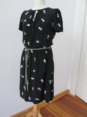 Sessun Seidenkleid mit Ananasdruck 30er/40er Stil Gr. M