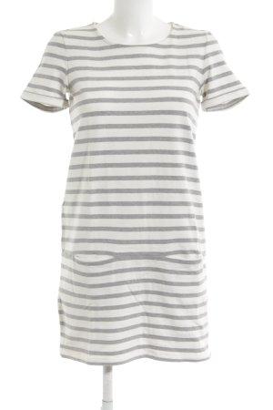 Sessun Vestido estilo camisa blanco-gris estampado a rayas look casual