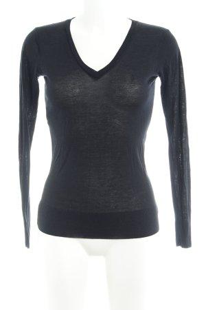 Sessun V-Ausschnitt-Pullover schwarz Webmuster Casual-Look