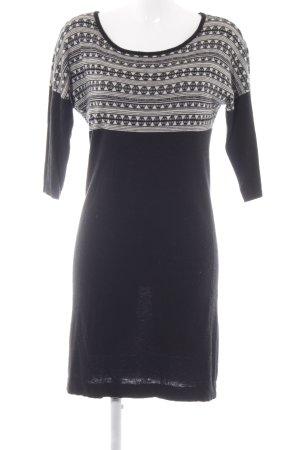 Sessun Vestido de lana negro-beige claro estampado con diseño abstracto
