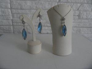 Set 925 Sterling Silber Ohrringe Ohrstecker Ohrhänger mit Kette und Anhänger