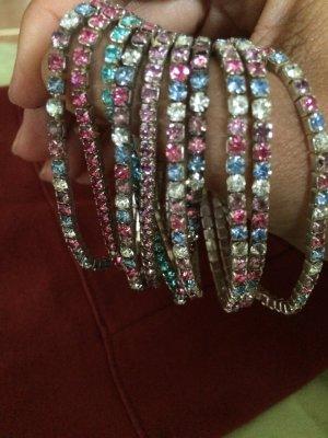 Set a 10 Armbänder aus Kristallen Blau Weiss Rosa - TOLL