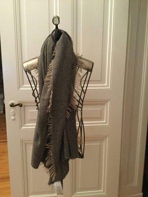 Set Bufanda de punto gris-marrón claro lana de alpaca