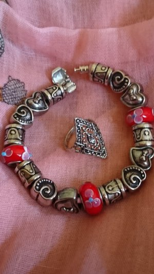 Charm Bracelet silver-colored-dark red