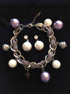 Set: Armband und Ohrringe – Perlen, Modeschmuck