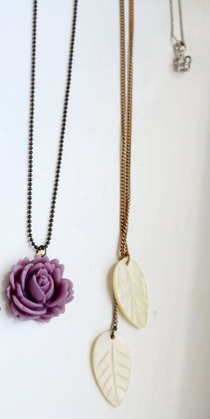 Set aus 3 Ketten - Rose, Blätter, Krone
