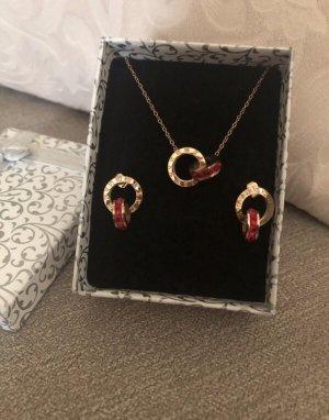Ear stud rose-gold-coloured-dark red