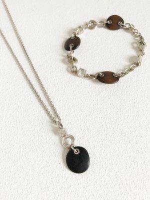 Set aus FOSSIL Halskette & passendem Armband. Holz & Strass. Silber.
